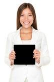 有黑色看板卡的微笑的亚裔妇女 库存照片