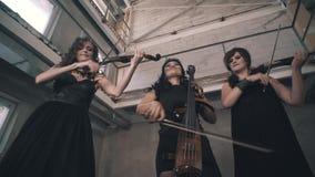 有黑色衣服的三位小提琴手充当一间未完成的屋子 股票视频