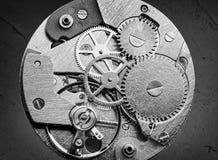 有齿轮和钝齿轮的钟表机构 图库摄影