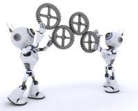 有齿轮的机器人 图库摄影