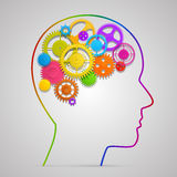 有齿轮的头在脑子 库存例证