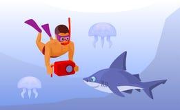 有水下防水的照相机的,动画片传染媒介自由的潜水者 图库摄影