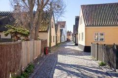 有16世纪的房子的渔村 库存图片