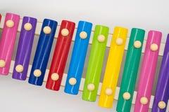 有12个五颜六色的声调的木琴玩具 库存图片