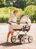 有婴儿推车的愉快的母亲在公园 库存图片