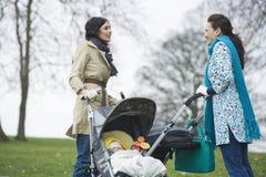 有婴儿推车的母亲在有的公园闲谈 图库摄影