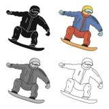 有水兵和红色裤子的运动员在雪板 奥林匹克的挡雪板 奥林匹克体育选拔象  皇族释放例证