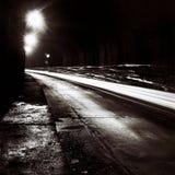 有移动交通光的隧道在黑白 免版税图库摄影
