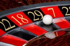 有黑区段的二十九29经典赌博娱乐场轮盘赌的赌轮 免版税图库摄影
