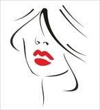 有黑发和红色嘴唇的妇女 库存照片