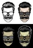 有头发和髭佩带的太阳镜的行家头骨 向量例证