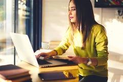 有黑发和黄色毛线衣的美丽的女商人在coworking工作 库存图片