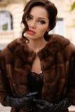 有黑发的华美的肉欲的妇女在豪华皮大衣和皮手套 免版税库存图片