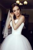 有黑发的美丽的肉欲的新娘在豪华鞋带婚礼礼服 图库摄影