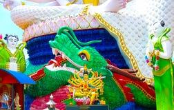 有18只手上帝雕象的观音工业区,酸值苏梅岛,素叻他尼Wat Plai Laem寺庙 免版税库存图片