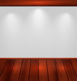 有轻和木地板的空的墙壁 免版税图库摄影