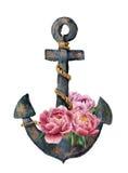 有绳索和牡丹的水彩减速火箭的船锚开花 在白色背景隔绝的葡萄酒例证 对设计、印刷品或者后面