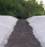 有黑土壤的干燥排水设备水路 库存照片