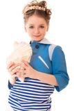有贝壳的女孩 免版税图库摄影