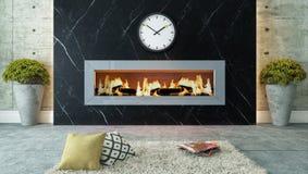 有黑大理石壁炉装饰设计的客厅 免版税库存图片