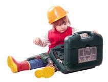 有钻子和工具箱的婴孩 库存图片