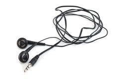 有绳子的耳机 免版税库存照片