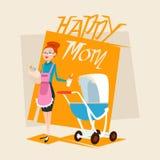 有婴孩新出生的摇篮车的愉快的母亲 免版税图库摄影