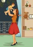 有婴孩的减速火箭的妇女 免版税库存照片