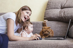 有婴孩的妇女和在膝上型计算机的一只猫在长沙发 图库摄影