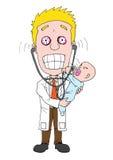 有婴孩的男性医生 向量例证