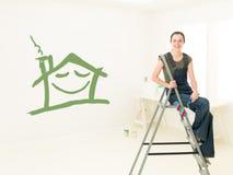有画家路辗的,住所改善的概念妇女 免版税库存图片
