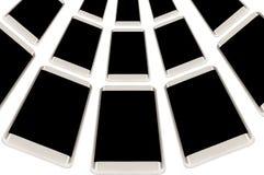 有黑屏的现代智能手机在被隔绝的白色背景 流动广告概念行  免版税库存图片