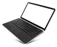 有黑屏的盘旋的铝膝上型计算机,隔绝在白色 库存图片