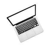 有黑屏的膝上型计算机在白色 免版税库存照片