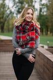有围巾的愉快的妇女 秋天 美丽的女孩的秋天画象 库存图片