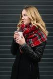 有围巾的愉快的妇女 秋天 美丽的女孩的秋天画象 免版税库存图片