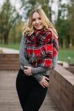 有围巾的愉快的妇女 秋天 美丽的女孩的秋天画象 免版税库存照片
