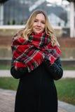 有围巾的愉快的妇女 秋天 美丽的女孩的秋天画象 图库摄影