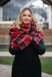 有围巾的愉快的妇女 秋天 美丽的女孩的秋天画象 免版税图库摄影