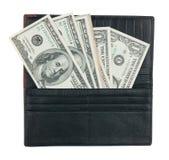 有货币的人的钱包 库存照片