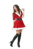 有嘴开放回顾的惊奇圣诞老人女孩在肩膀 库存图片
