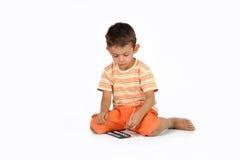 有水彩的男孩 免版税库存图片