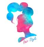 有水彩头发的剪影头 妇女美容院的传染媒介例证 免版税库存照片