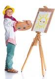 有水彩绘画的男孩 库存图片