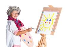有水彩绘画的男孩 免版税库存图片