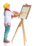 有水彩绘画的男孩 免版税库存照片
