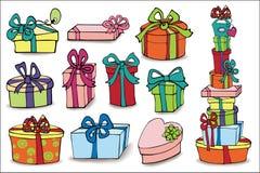 有阴影的五颜六色的礼物盒 抽象乱画得出的花卉现有量例证设置了 免版税库存照片