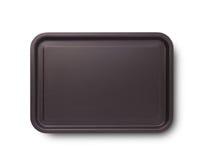 有阴影的空的烘烤盘子顶视图的薄饼关闭的隔绝了正方形 嘲笑为设计 免版税库存照片