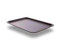 有阴影的空的烘烤盘子顶视图的薄饼关闭的隔绝了正方形 嘲笑为设计 库存照片