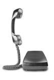 有阴影的葡萄酒黑电话在白色背景 免版税库存照片